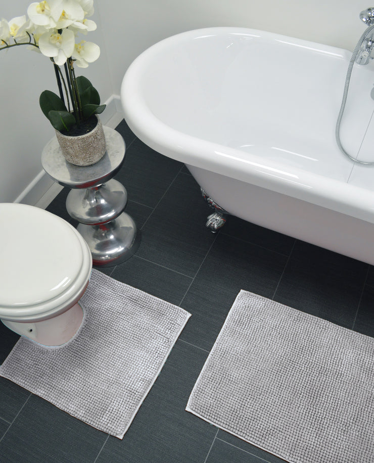 Supersoft Chenille Two Piece Bath and Pedestal Mat Set - Allure Bath Fashions