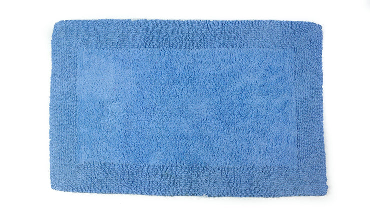 Elegance Cotton Reversible Large Bath Mat Cornish Blue
