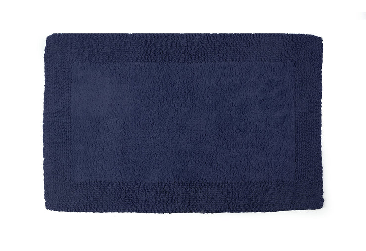 Elegance Cotton Reversible Large Bath Mat Navy Blue