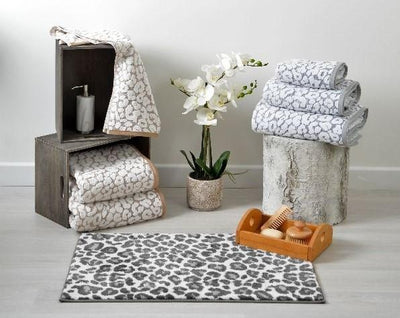 Luxury Leopard Print Bath Towels Grey White Cream Beige