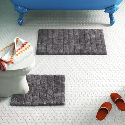 Luxury Bath Mat and Pedestal Set in Linear Ribbed Design - Allure Bath Fashions