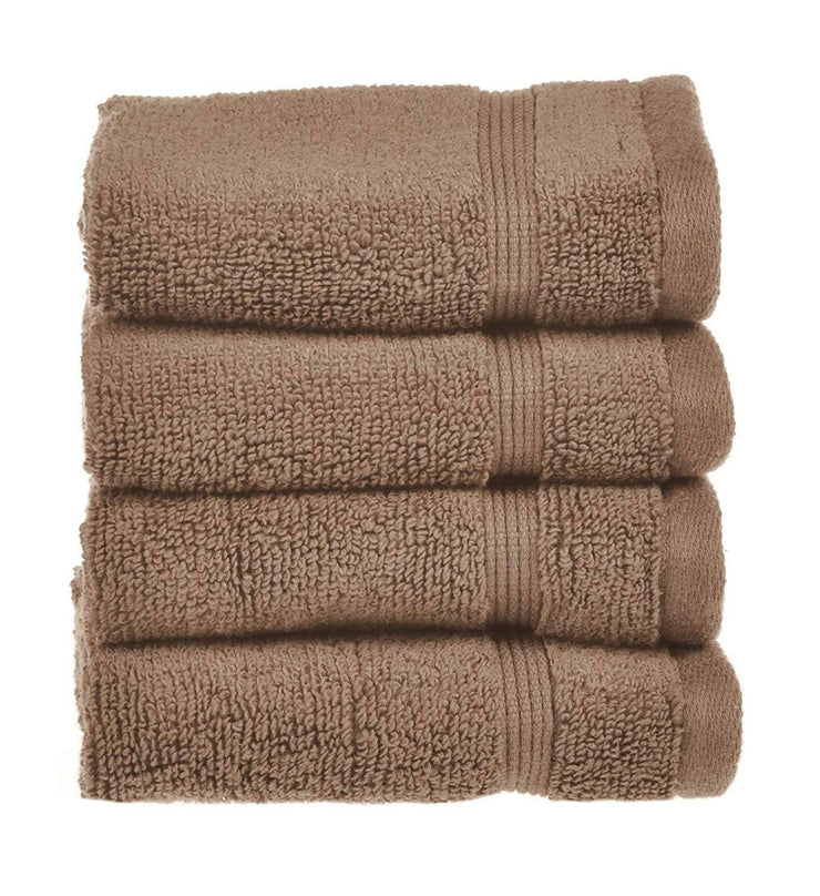 Luxury Supersoft Zero Twist Four Pack Face Cloth Flannel Towel Mocha