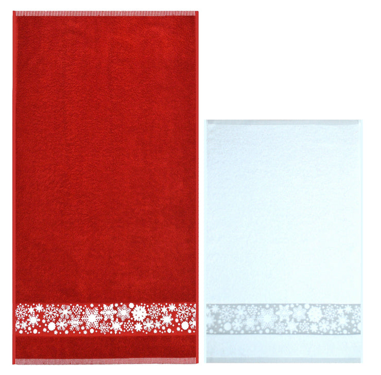 Christmas Snowflake Two Pack Towels Guest Hand Tea Towel