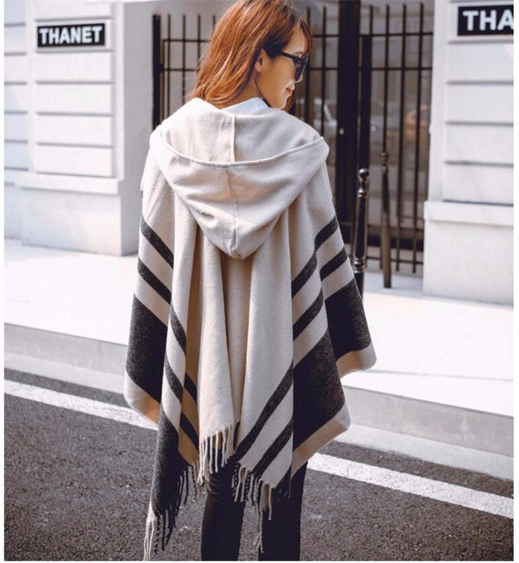 Hooded Banded Poncho