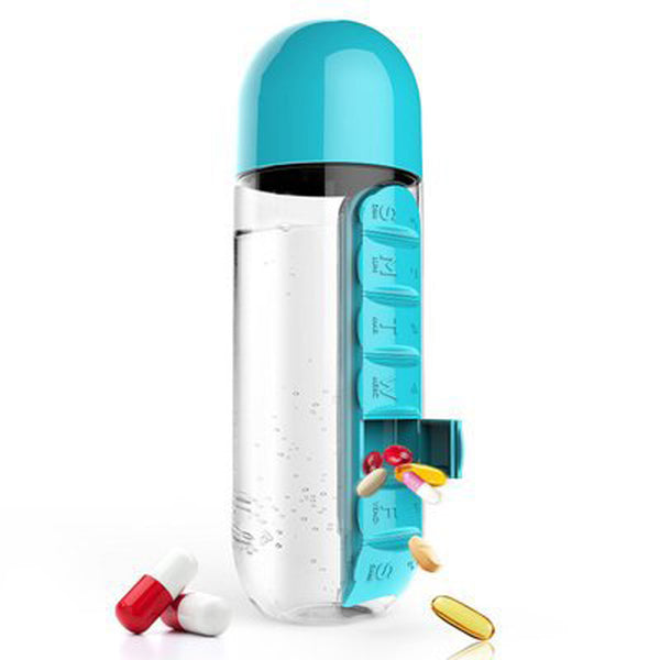 Hydrate Bottle With Built-in 7 Day Pill Box 600ml/21.1oz