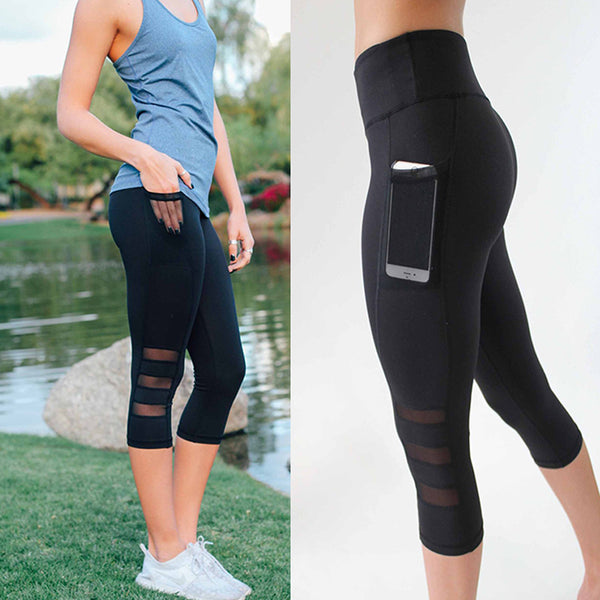 Pocket Capri Mesh Leggings