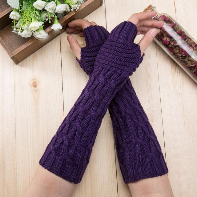 My Arm Warmer Knitted Long Fingerless Gloves