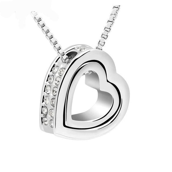 Cute Two Tone Double Heart Necklace