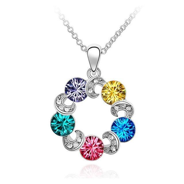Colourful Swarovski Ferris Wheel Pendant Necklace
