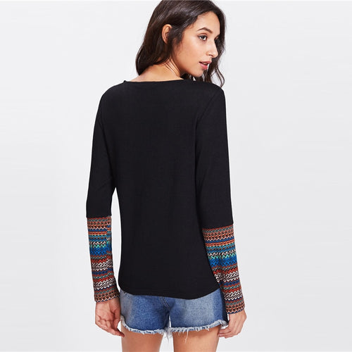 Tribal Print Pocket And Cuff Crop Tee
