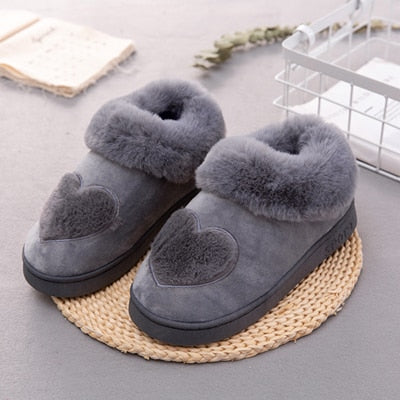 Heart-Shaped Stiched Cotton Slippers