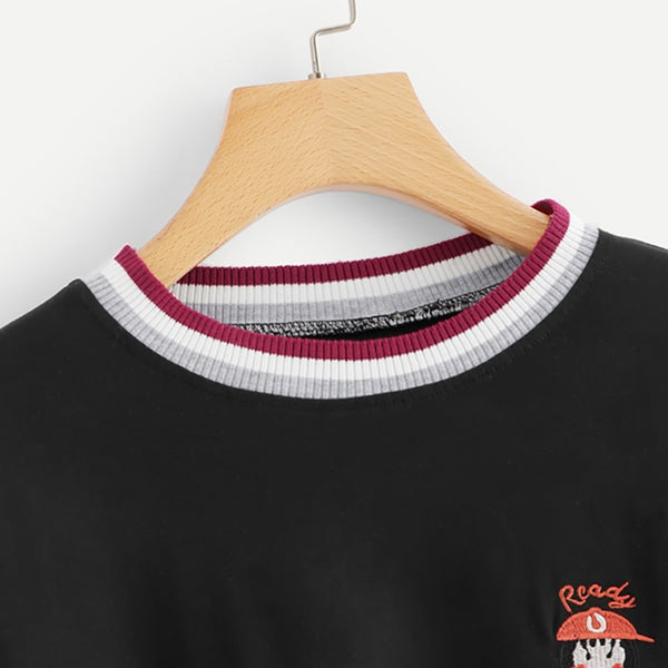 Black Striped Pullover Tee