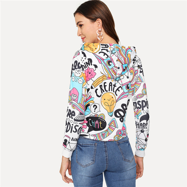 Cartoon Crop Hoodie Tee
