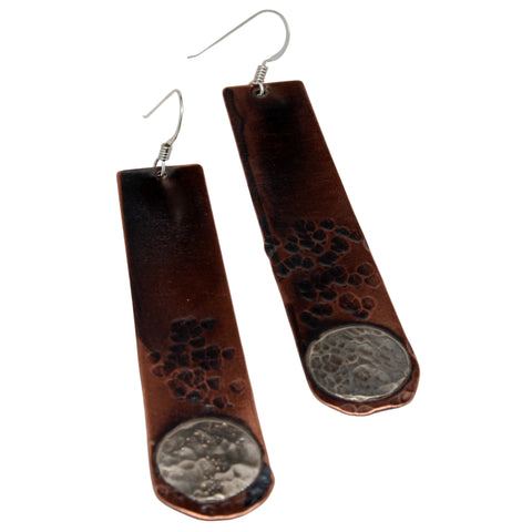 Mixed Metal Long Dangle Earrings