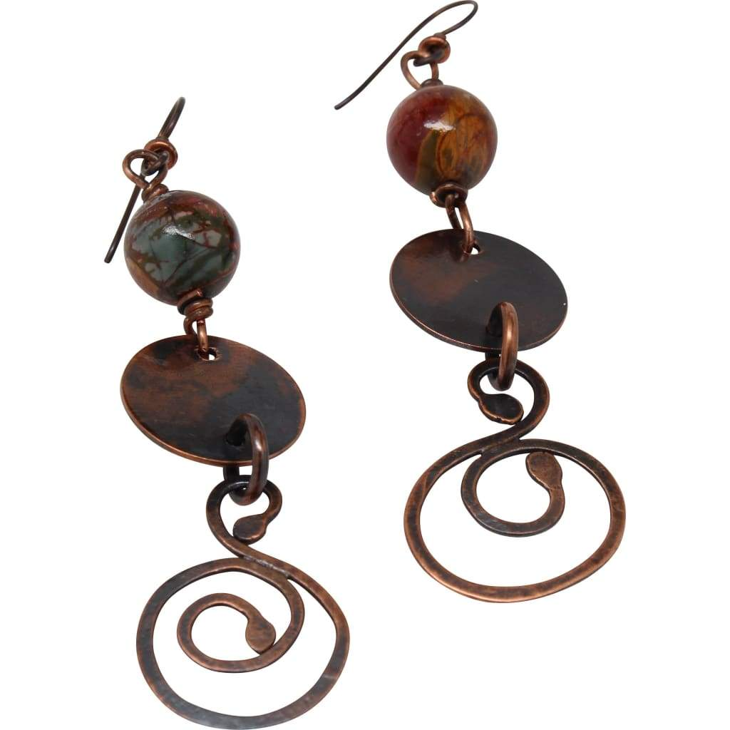 A Goal-Oriented Journey Copper Dangle Earrings - Large Clip On Earring Earrings
