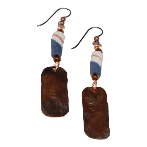 Mixed Metal Copper and Double Silver Hoop Dangle Earrings