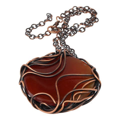 Amber Agate Copper Pendant Necklace Necklaces Junebug Jewelry Designs
