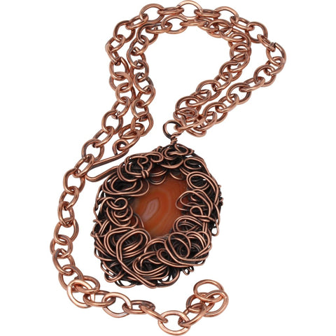 Molded Copper and Argentium Silver Statement Necklace