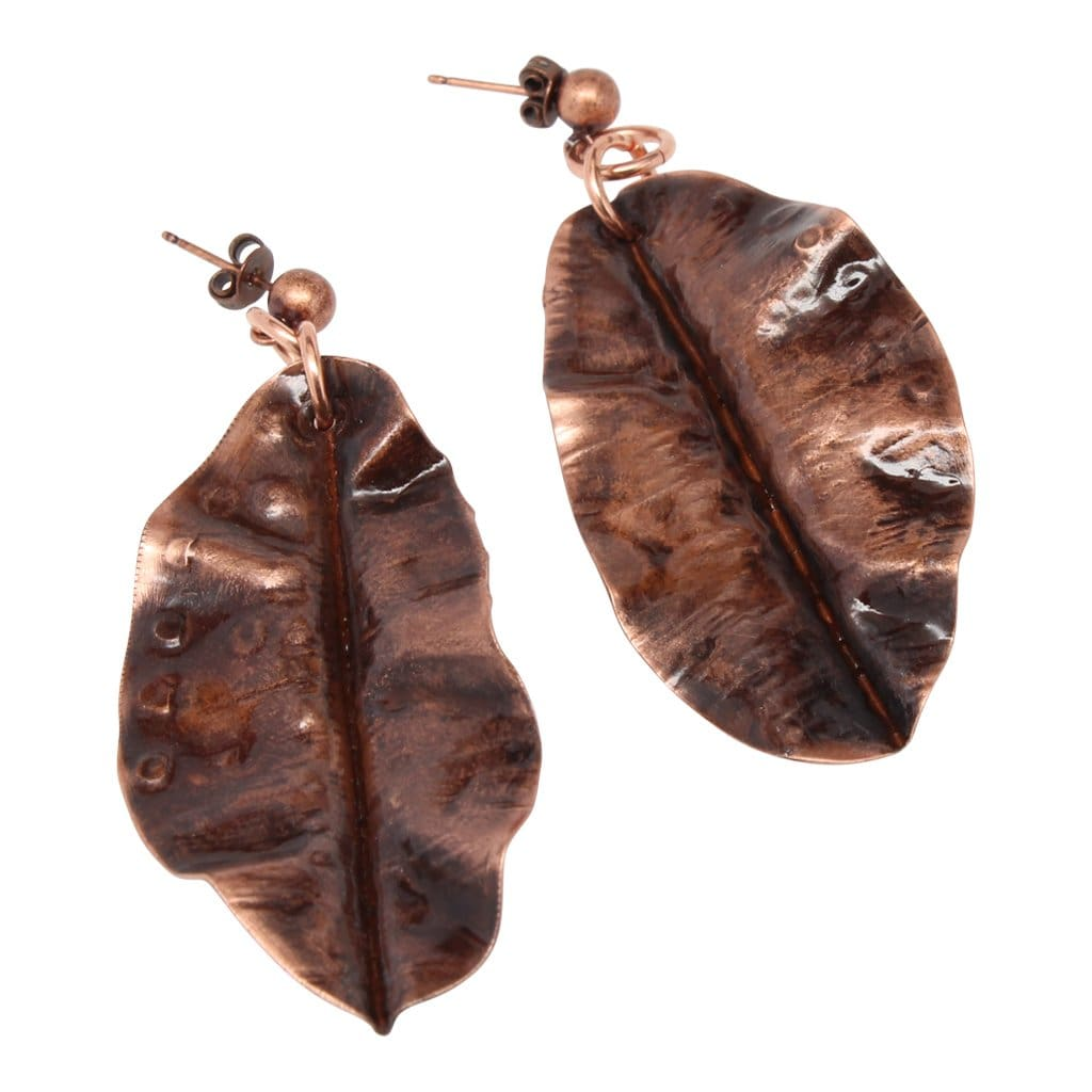 Long Antiqued Copper Leaf Earrings