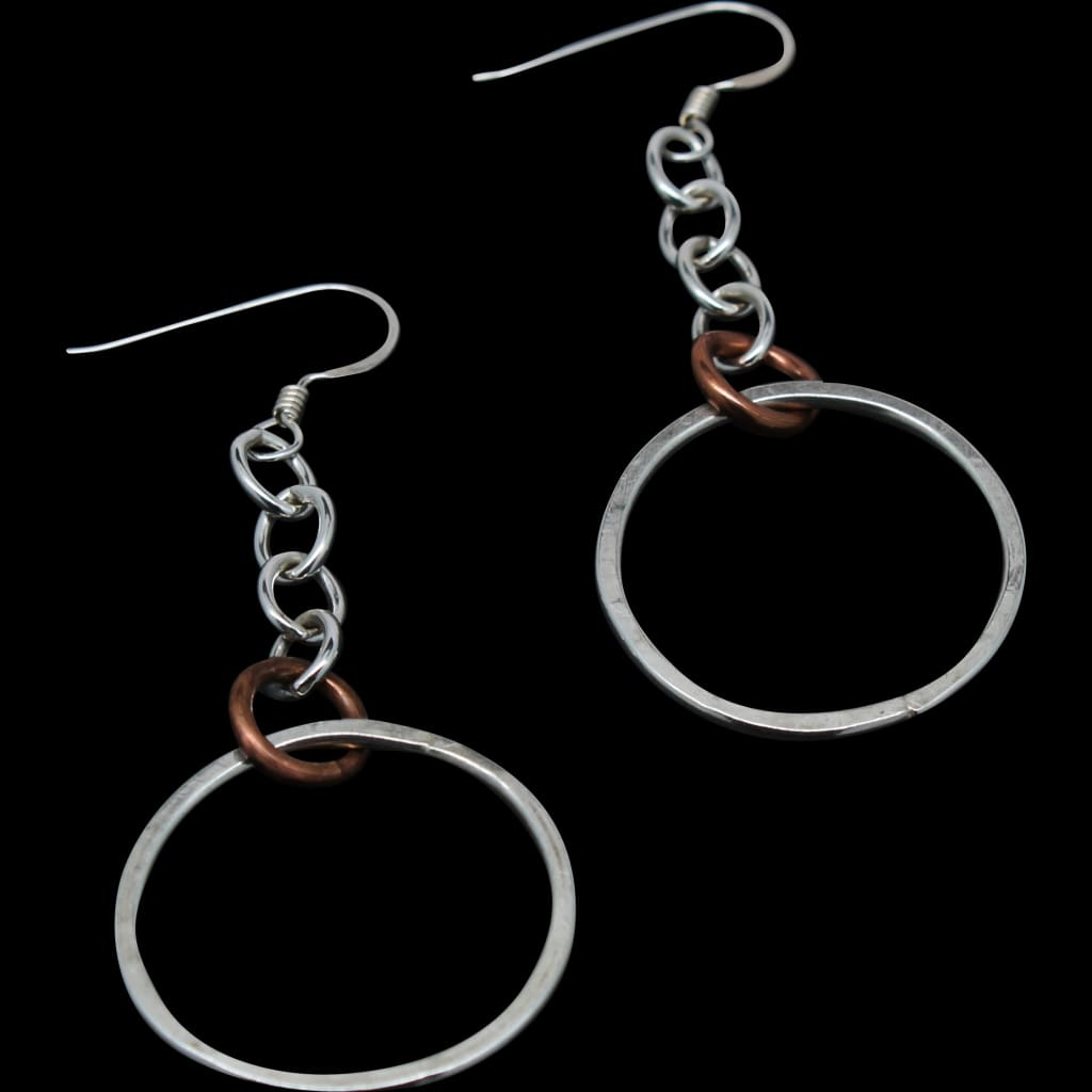 Argentium on Chains with Copper Accent Earrings Earrings