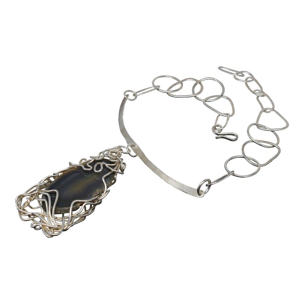 Argentium Silver Brazilian Agate Statement Necklace Necklaces