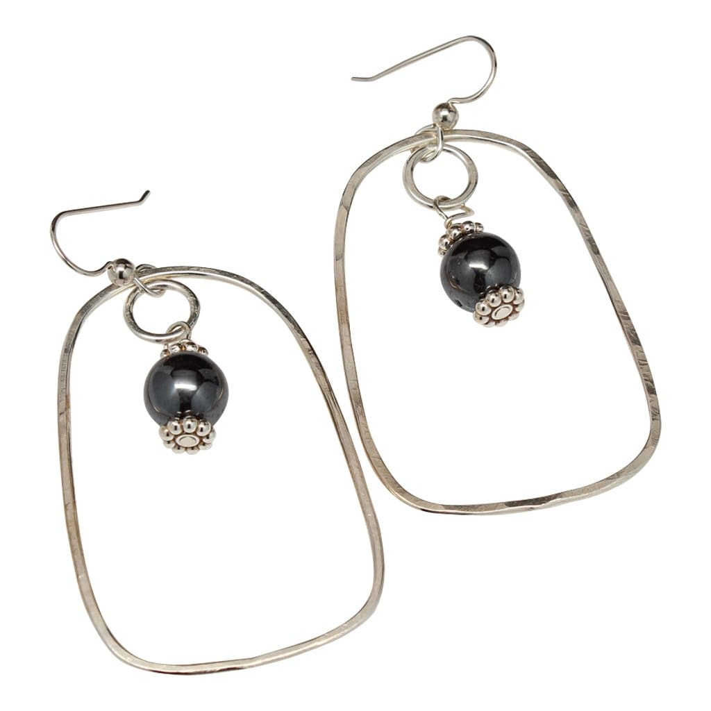 Argentium Silver Dangle Earrings With Hematite Accents Earrings
