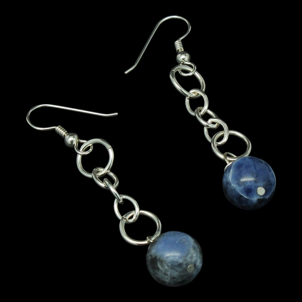 Argentium Silver Earrings With Sodalite Dangles Earrings