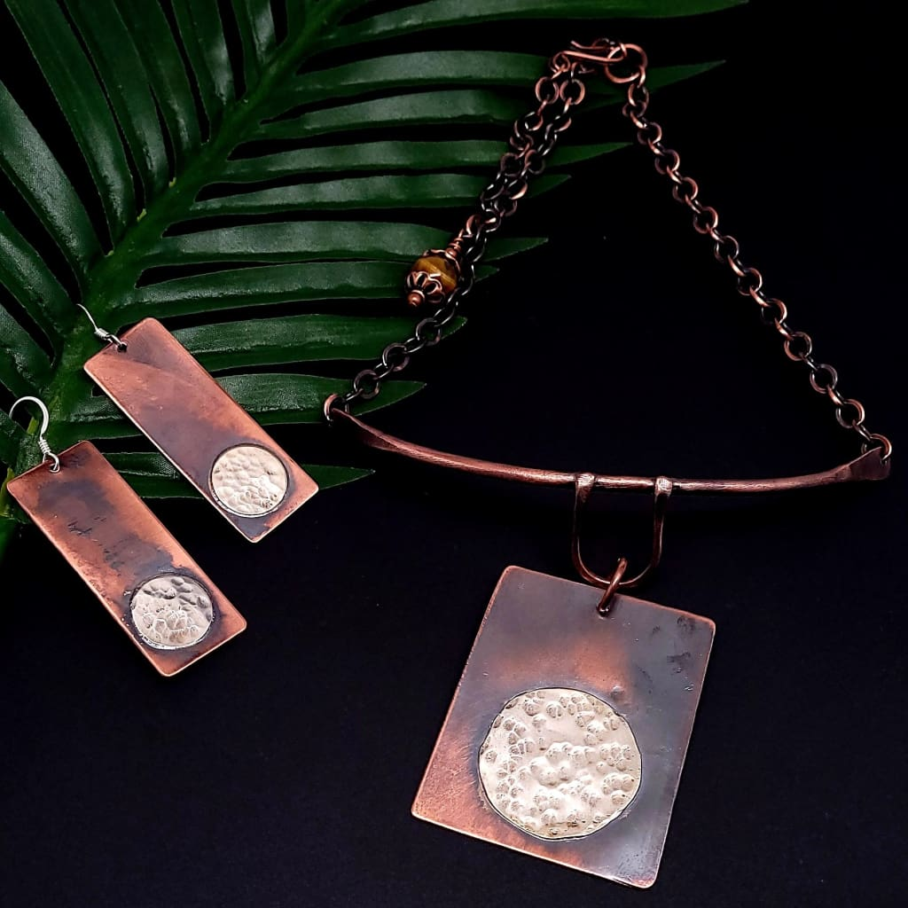Beauty Marks Copper and Silver Choker Necklace Necklaces