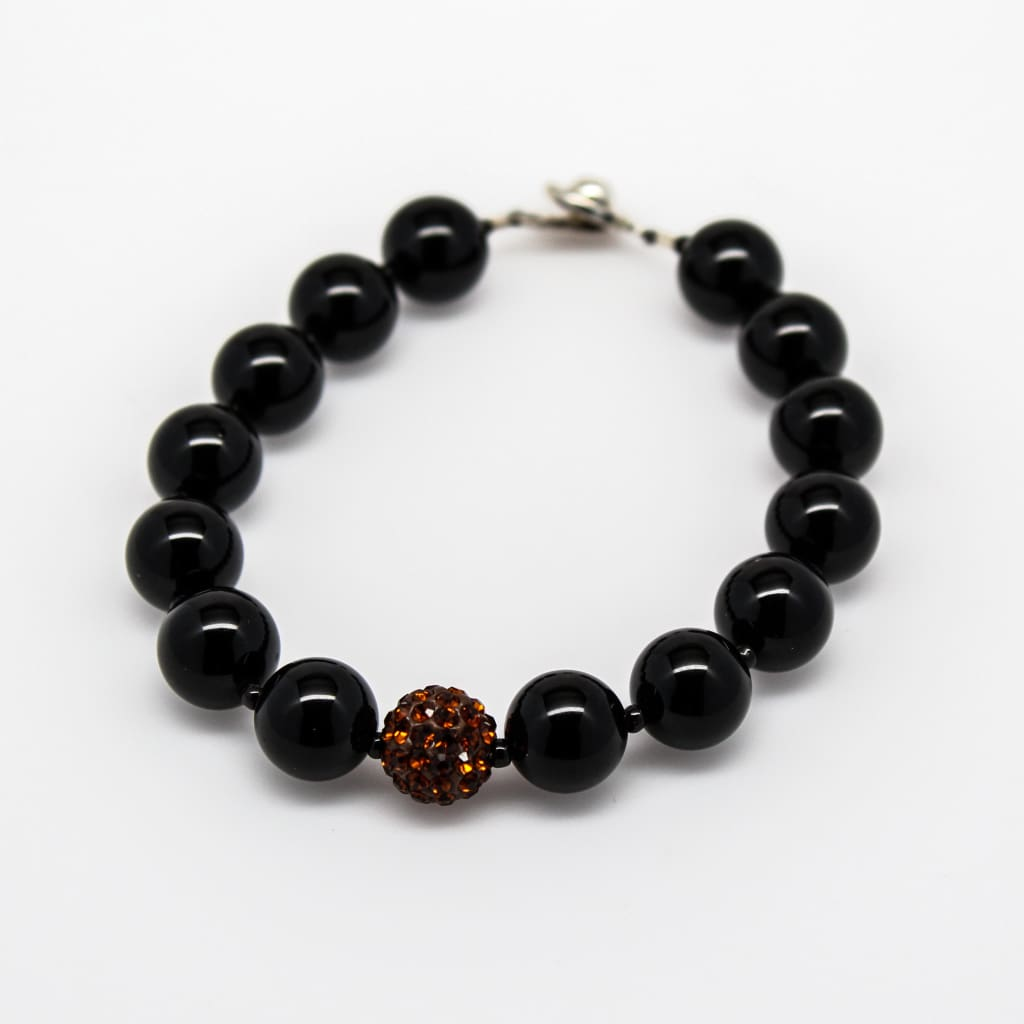 Black Onyx And Dark Topaz Pave Beaded Gemstone Bracelet Bracelets