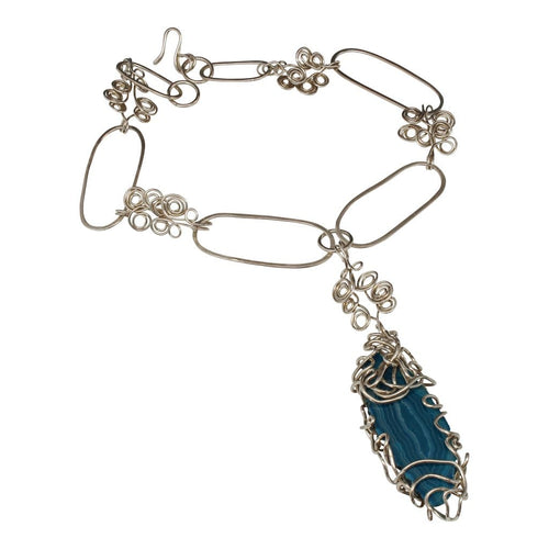 Blue Agate Argentium Silver Choker Statement Necklace Necklaces