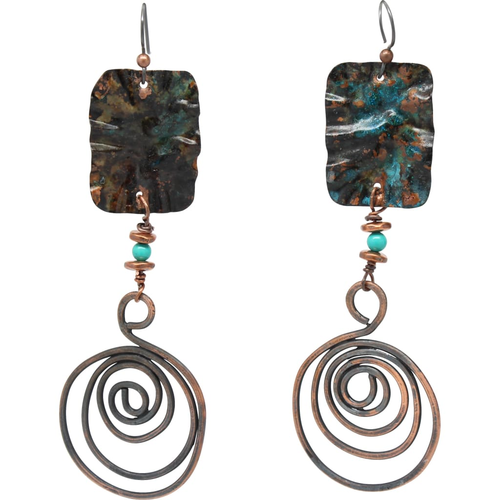 Bohemian Copper Dangle Earrings With Howlite Stones Earrings
