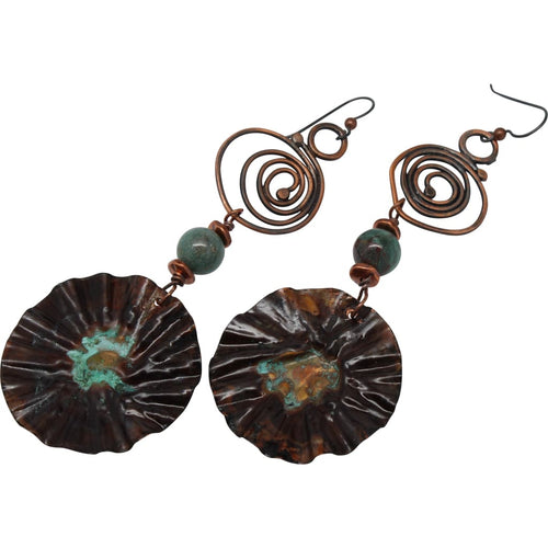 Bohemian Painted Copper Dangle Earrings With African Jade Accents Earrings