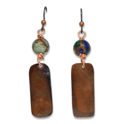 Bronzite Malachite Copper Dangle Earrings Earrings