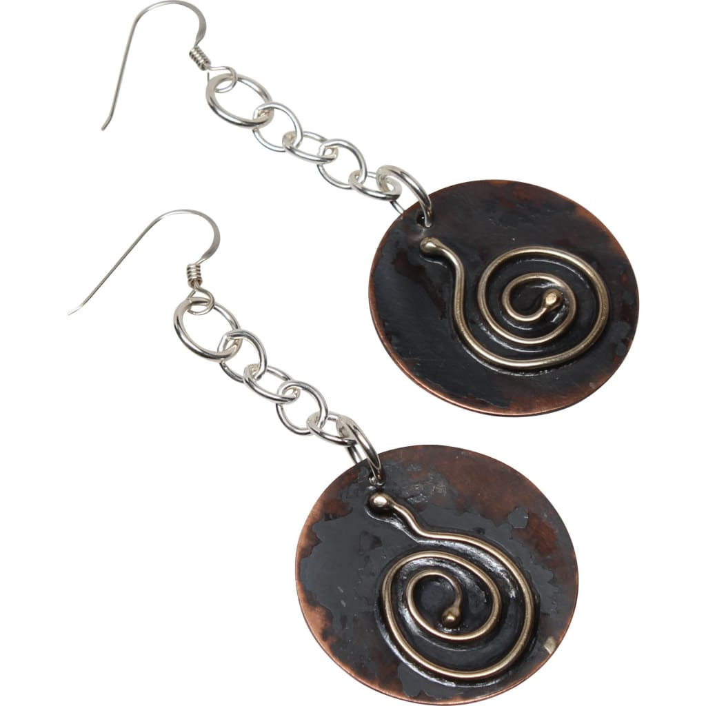 Chained Journey Copper and Argentium Silver Earrings Earrings