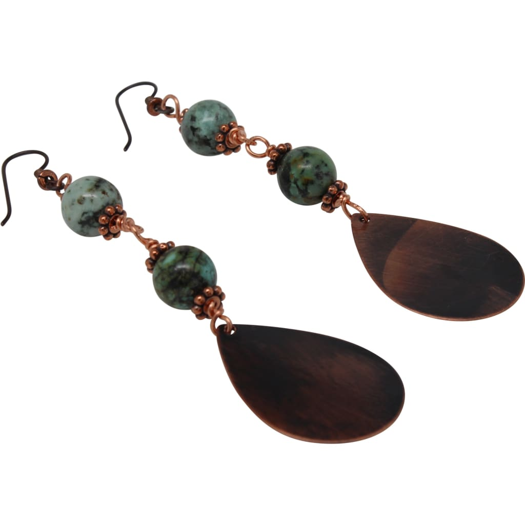 Copper and African Turquoise Semi-Precious Gemstone Earrings Earrings
