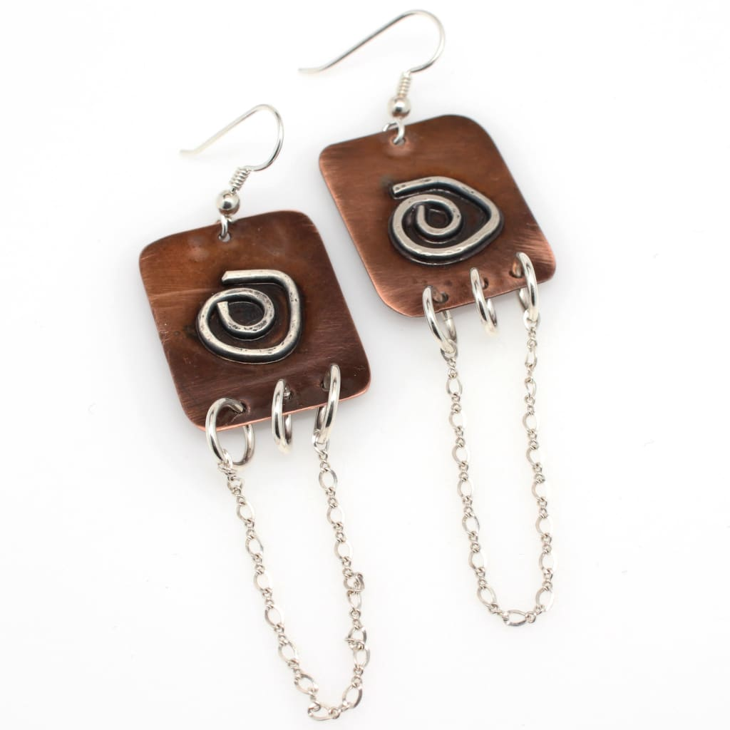 Copper And Argentium Silver Chain Statement Earrings Earrings
