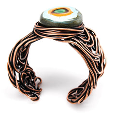 Copper And Kazuri Scribble Wire Cuff Bracelet Bracelets