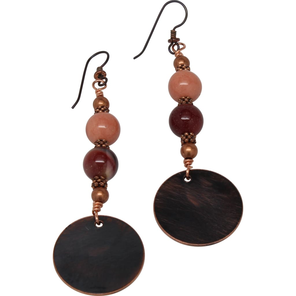 Copper and Mookaite Jasper Dangle Earrings Earrings