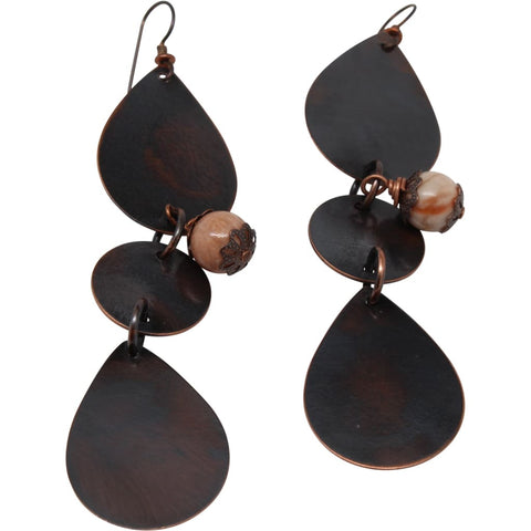 Jasper and Copper Disc Earrings