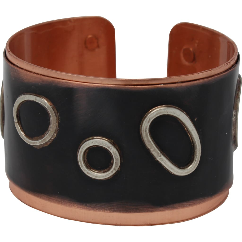 Copper And Silver Circles Drama Cuff Bracelet Bracelets