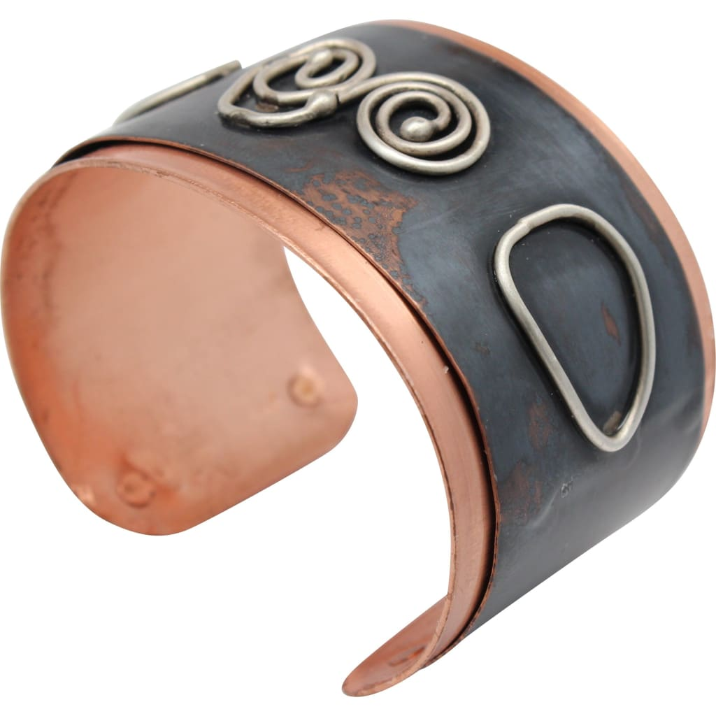 Copper And Silver Drama Cuff Bracelet 2 Bracelets
