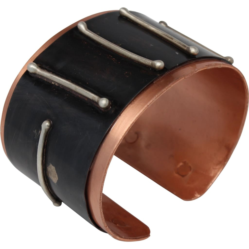 Copper And Silver Stripes Drama Cuff Bracelets