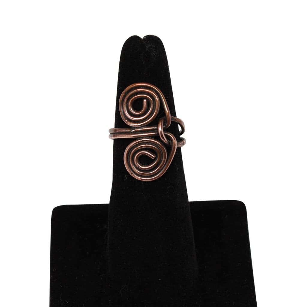 Copper Double Spiral Ring Rings