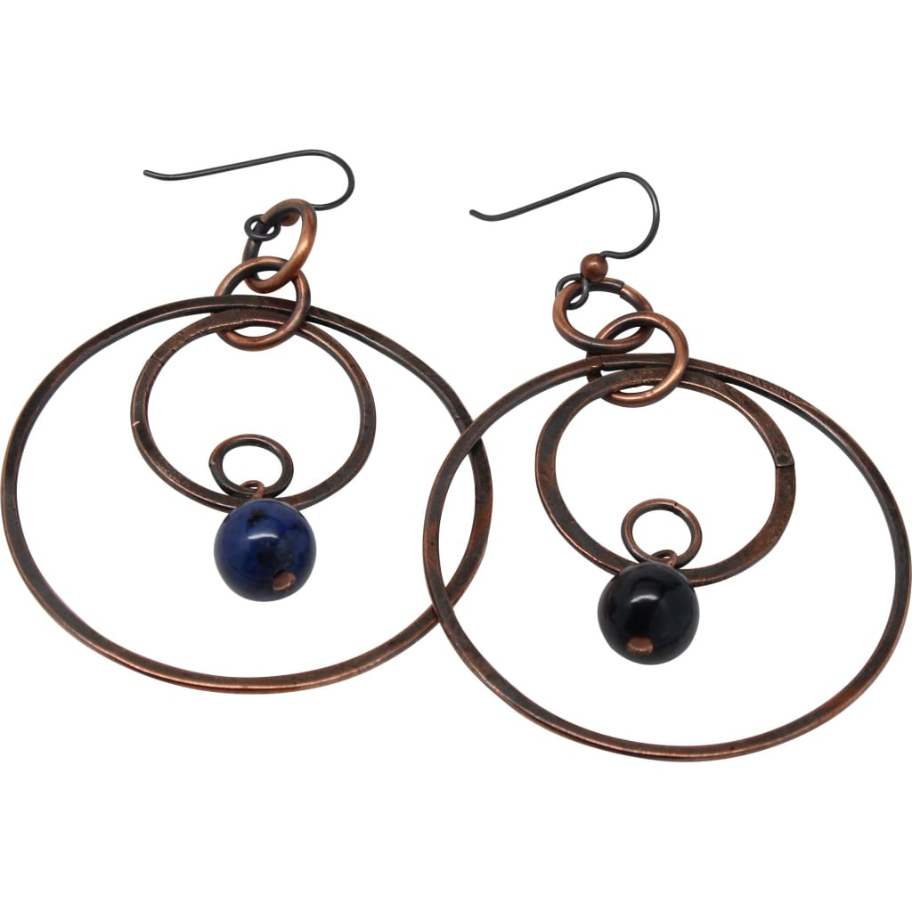 Copper Fancy Hoops With Dumortierite Accents Earrings
