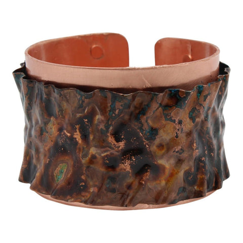 Copper and Kazuri Scribble Wire Cuff Bracelet