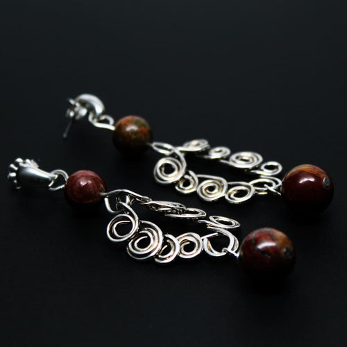 Dainty Argentium Silver Swirl Earrings With Red Creek Jasper Earrings