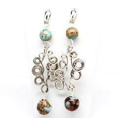 Dainty Argentium Silver Swirl Earrings With Snakeskin Jasper Earrings