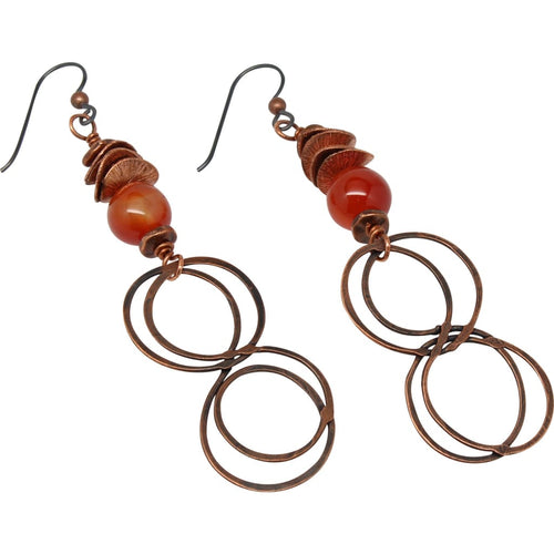 Double Infinity Copper And Carnelian Dangle Earrings Earrings