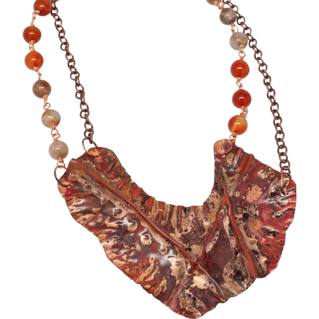 Fiyah On Fire Copper Carnelian And Sunstone Statement Necklace Necklaces