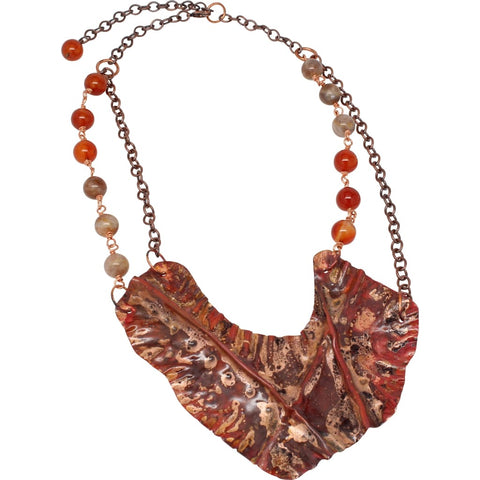 Argentium Silver Brazilian Agate Statement Necklace